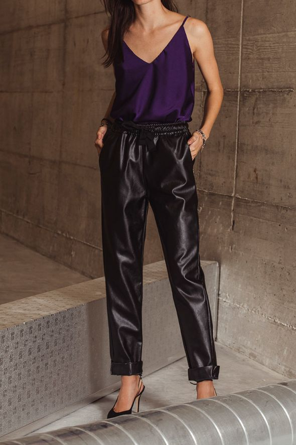 Markup Pantalone effetto pelle con coulisse