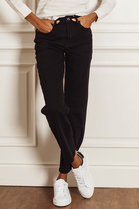 Only Jeans mom fit straight nero