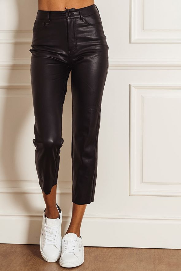 Only Pantalone effetto pelle straight fit