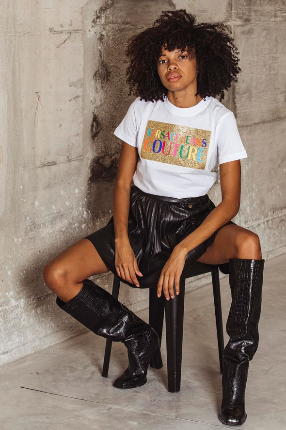 Versace Jeans Couture T-shirt stampa logo multicolor
