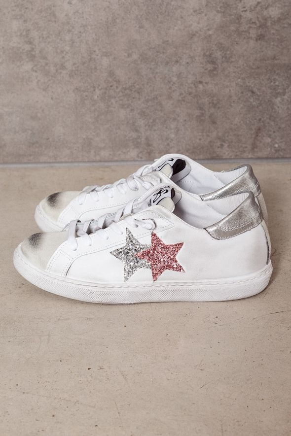 2star Donna sneakers low bianco-ghiaccio-rosa-argento