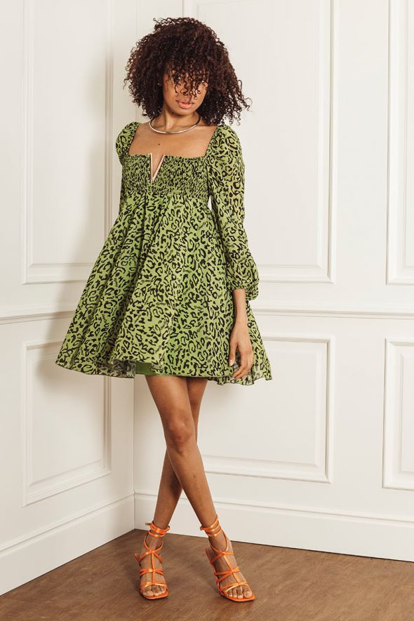 ANIYE BY Abito maku green V DRESS MINDY