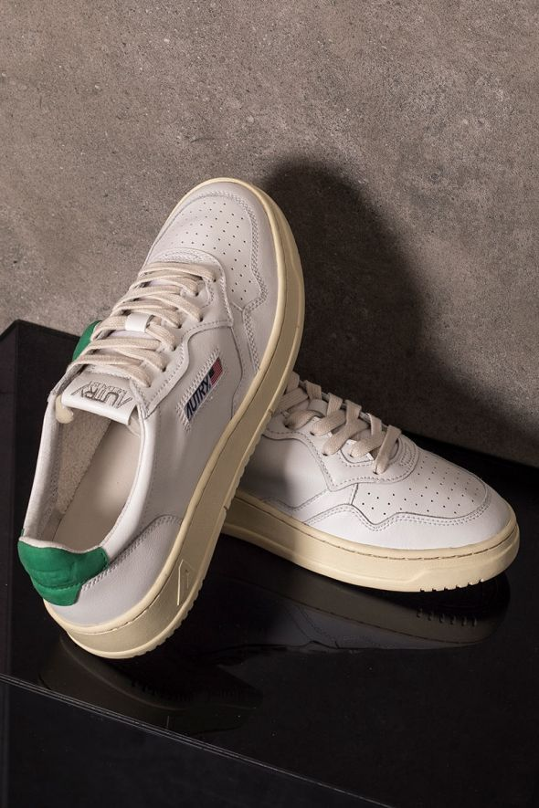 AUTRY Sneakers uomo low pelle bianco verde