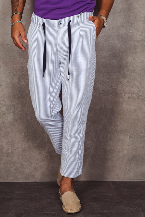 BL11 Pantalone a righe con coulisse