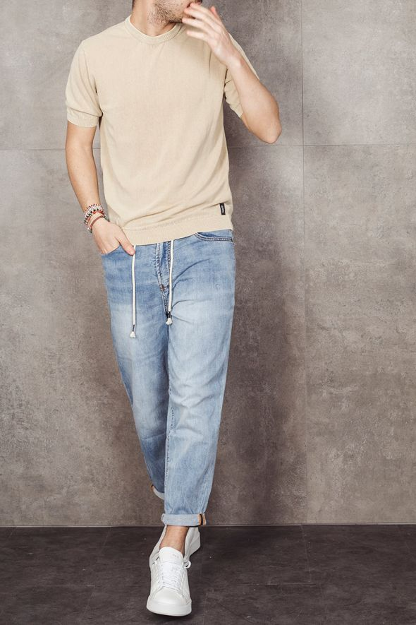 BOMBOOGIE T-shirt sabbia in cotone tricot