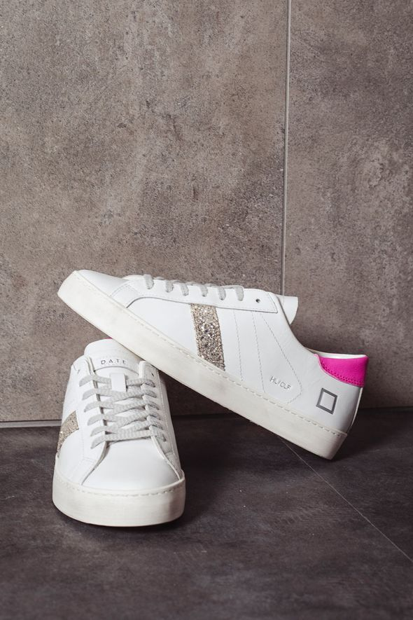 D.A.T.E. Sneakers donna HILL LOW CALF white fuxia