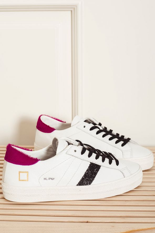 D.A.T.E. Sneakers donna HILL LOW PONY white-fucsia