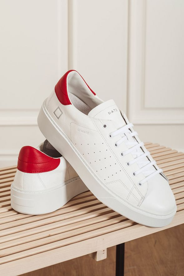 D.A.T.E. Sneakers uomo LEVANTE calf white-red