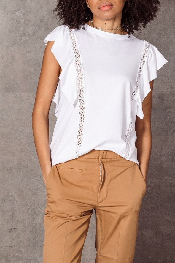 DONDUP Top in jersey bianco