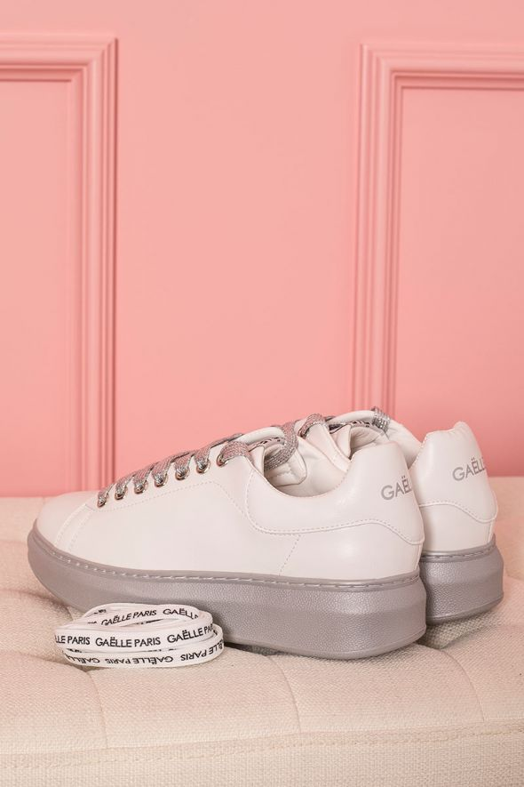 Gaelle Sneakers donna suola oversize argento
