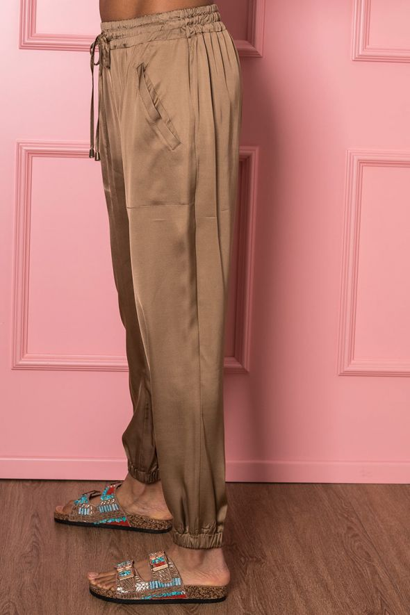 ICONA BY KAOS Pantalone cammello con coulisse