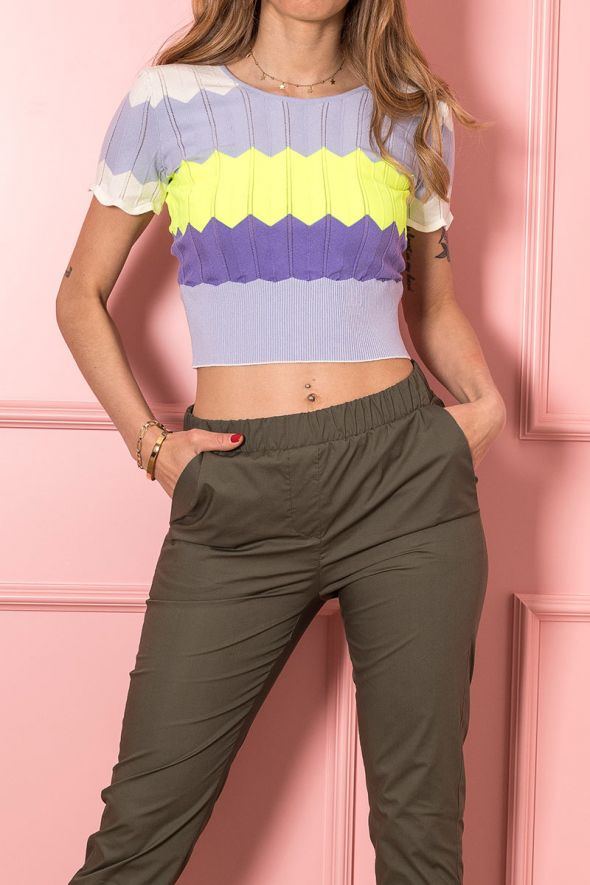 Imperial Top cropped lavorato a zig-zag