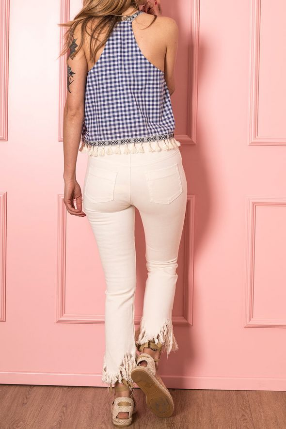 Incloth Jeans mid rise cropped flare panna