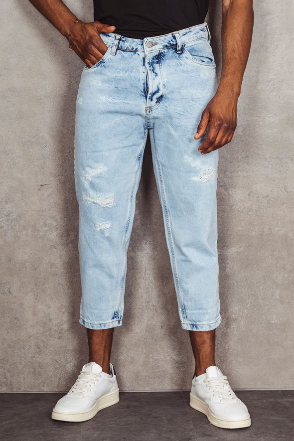 MAIN DELUXE Jeans strappi cuciture