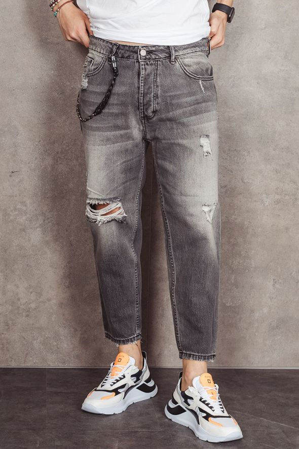MAIN DELUXE Jeans cropped con strappi