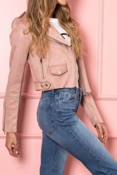 Only Giacca biker suede rosa