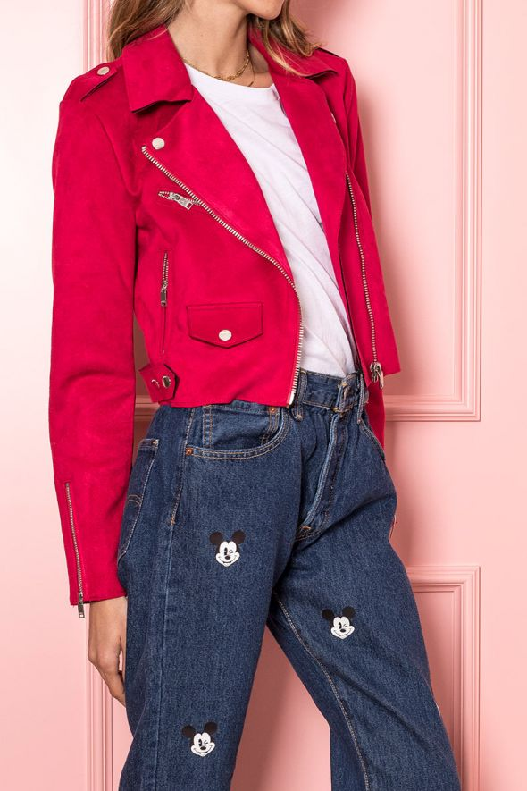 Only Giacca biker suede rosso