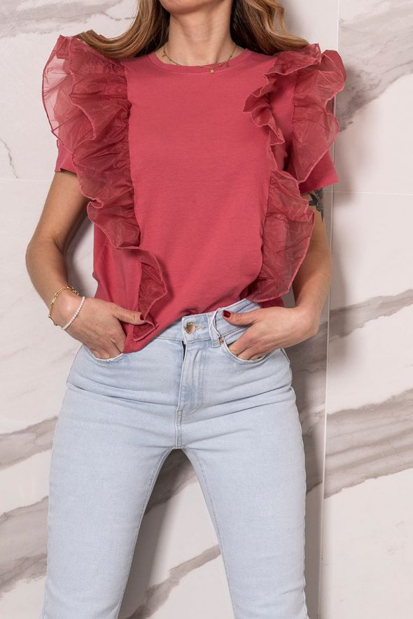 Only T-shirt dettaglio tulle