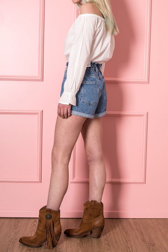 ONLY Shorts denim con vita paperbag