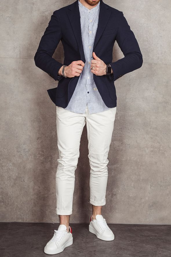 OUT/FIT Giacca blu monopetto