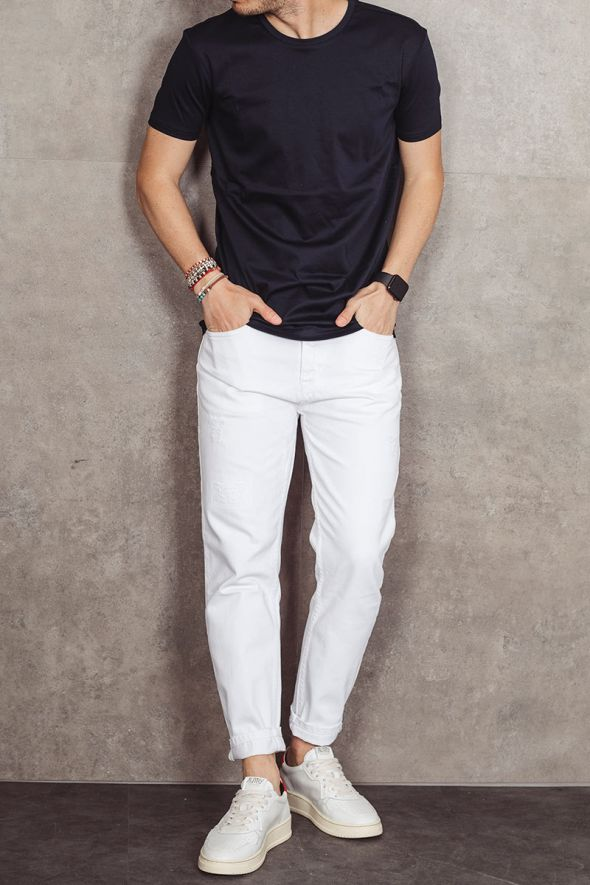 OUTFIT T-shirt blu basic slim fit