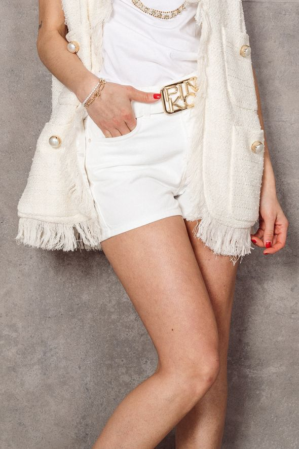 Pinko Short denim bianco con cintura