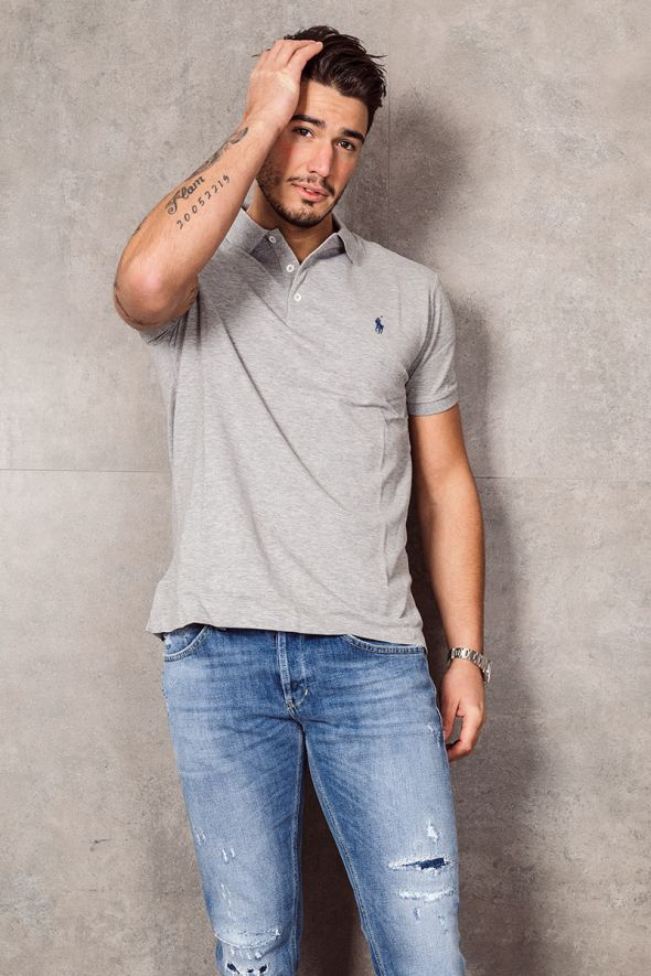 POLO RALPH LAUREN Polo in piqué stretch Slim-Fit grey