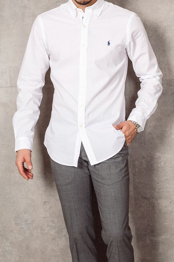 POLO RALPH LAUREN Camicia in popeline Slim-Fit white