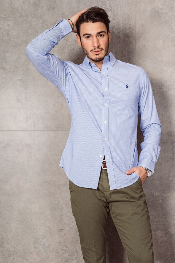 POLO RALPH LAUREN Camicia in popeline a righe Slim-Fit