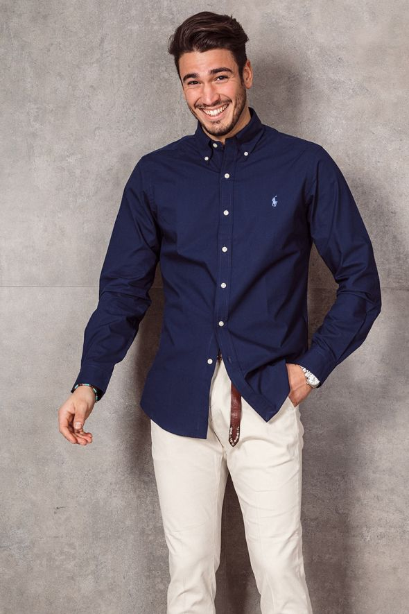 POLO RALPH LAUREN Camicia in popeline Slim-Fit blue navy