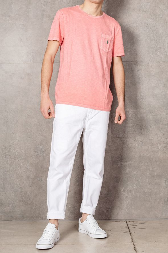 POLO RALPH LAUREN T-shirt con tasca Custom Slim-Fit pink