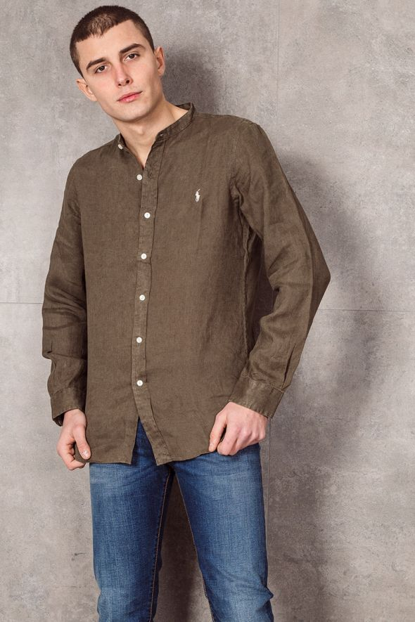 POLO RALPH LAUREN Camicia in lino Slim-Fit verde militare