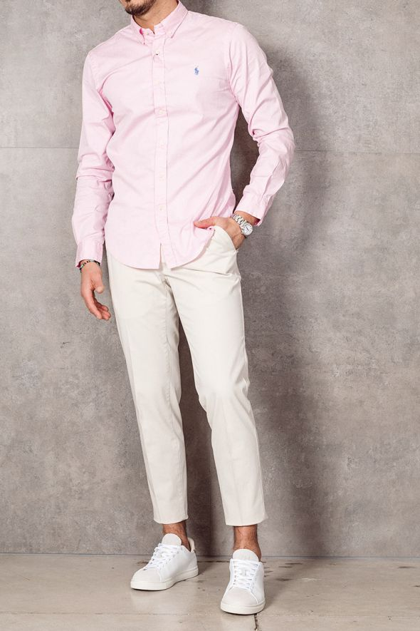 POLO RALPH LAUREN Camicia Oxford tinta in capo Slim-Fit pink