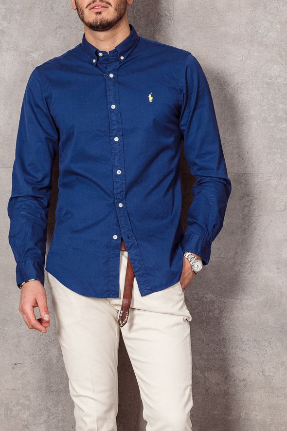 POLO RALPH LAUREN Camicia Oxford tinta in capo Slim-Fit blue