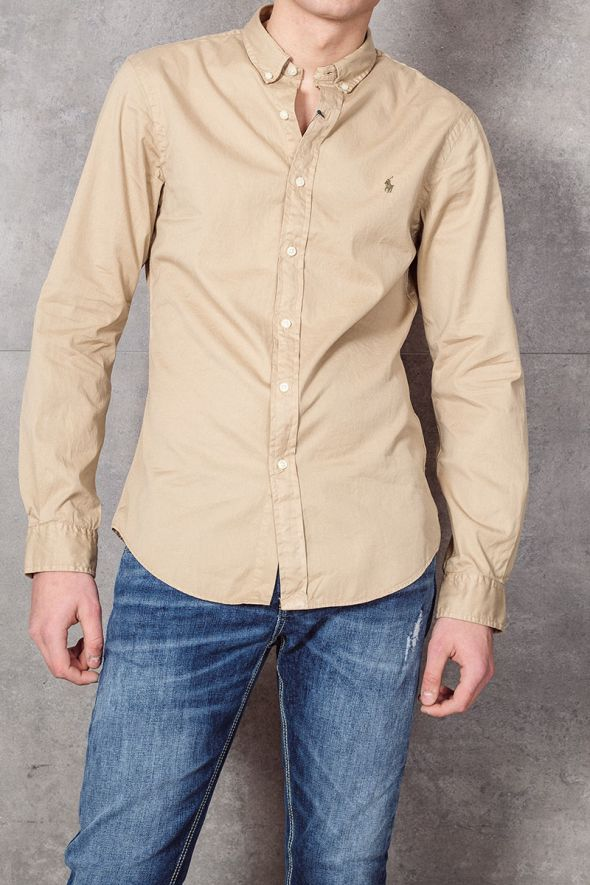 POLO RALPH LAUREN Camicia Oxford tinta in capo Slim-Fit beige