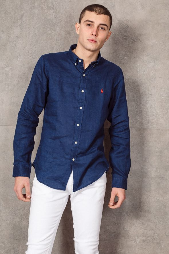 POLO RALPH LAUREN Camicia in lino Slim-Fit blu navy