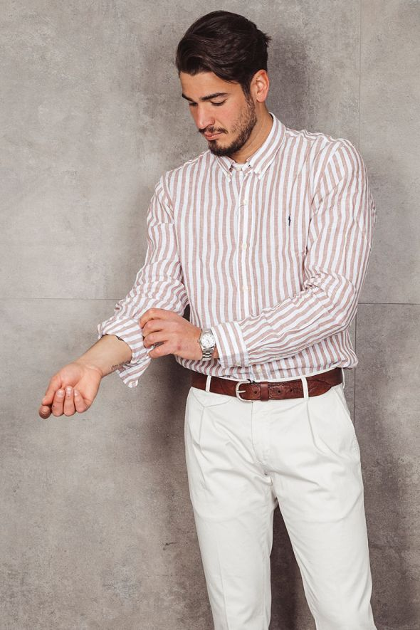 POLO RALPH LAUREN Camicia in lino a righe Slim-Fit