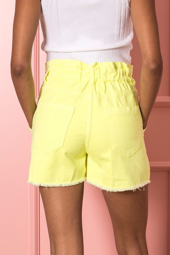 Susy Mix Short paperbag giallo fluo
