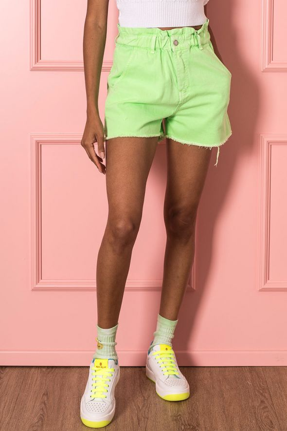 Susy Mix Short paperbag verde fluo