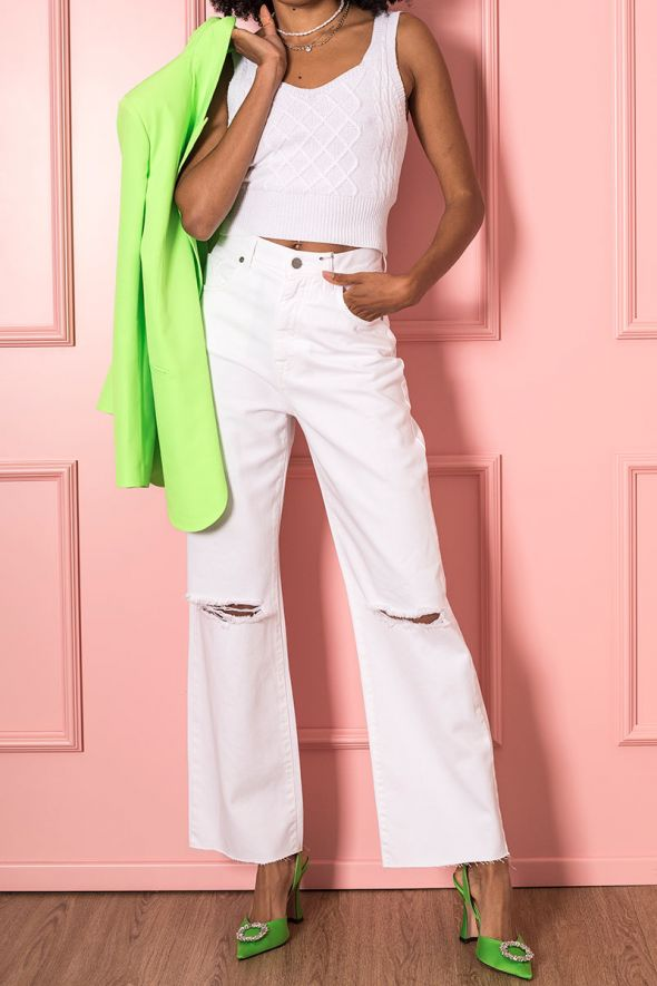 Susy Mix Jeans straight full length con strappi