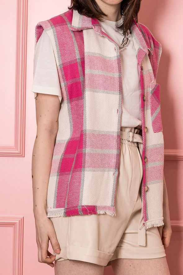 Susy Mix Gilet camicia check