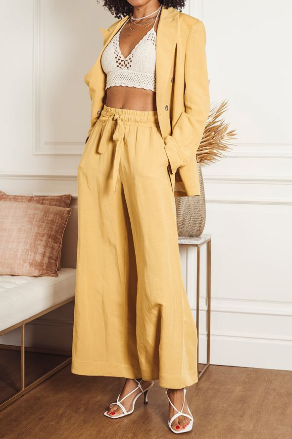 Tensione In Pantalone coulisse giallo