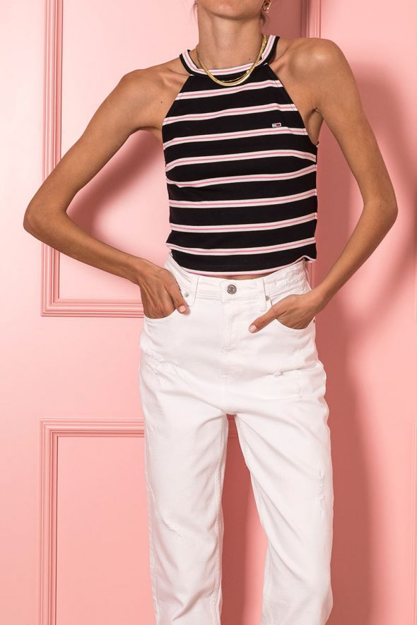 Tommy Hilfiger Canotta crop a righe con bandiera