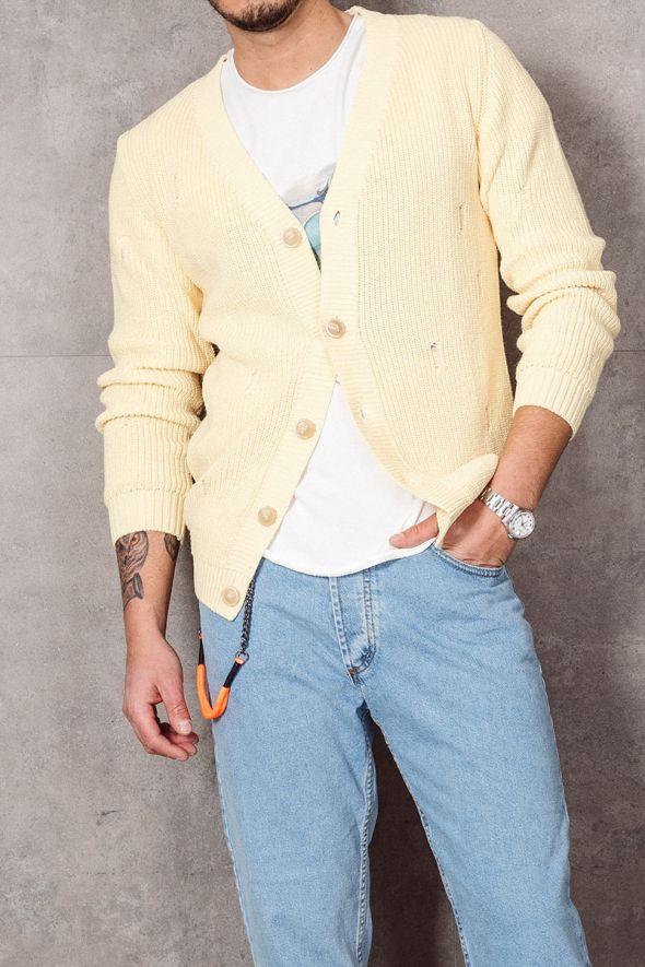 WHY NOT BRAND Cardigan giallo con rotture