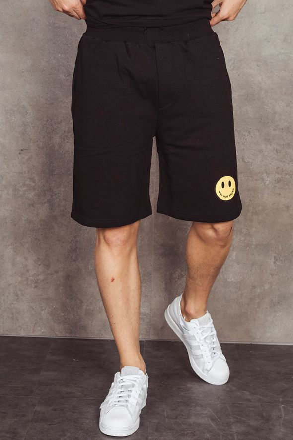 WHY NOT BRAND Shorts nero con smile