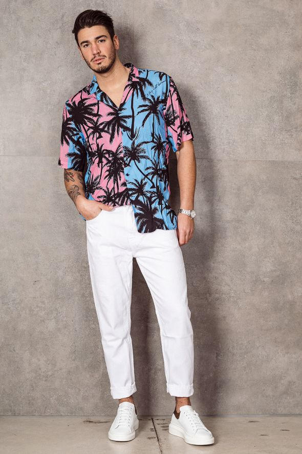 WHY NOT BRAND Camicia stampa palme